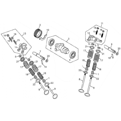 camshaft  valve  adly atv 300xs assault