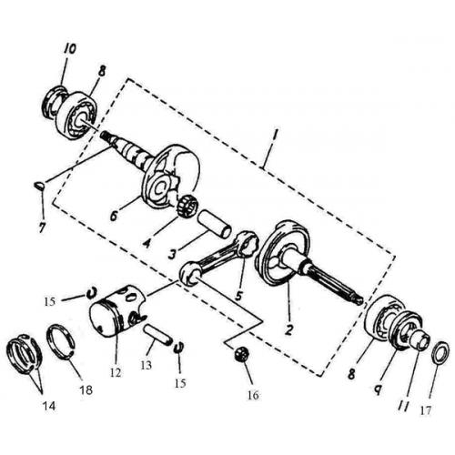 Crankshaft, Piston (ADLY RT-50 Road Tracer)