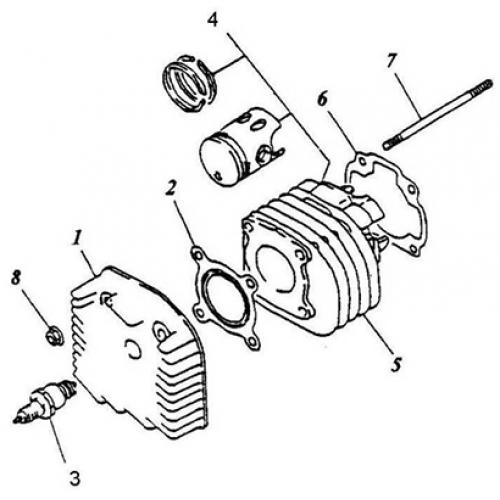 Cylinder, Cylinder Head (Silver Fox 50)