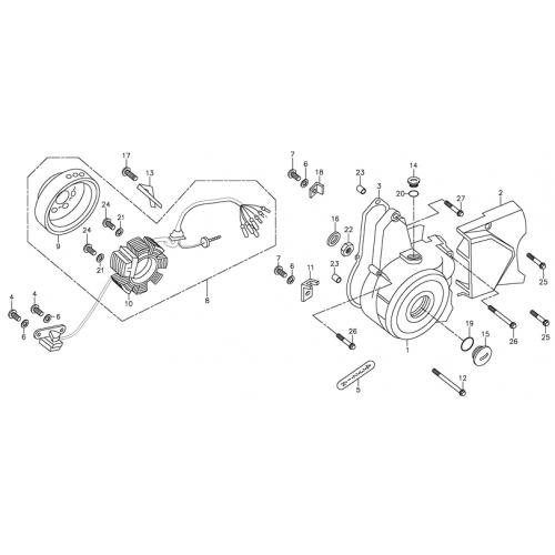 L Crankcase Cover, Generator (Adly ATV 90Z2 4T (Gear Drive))