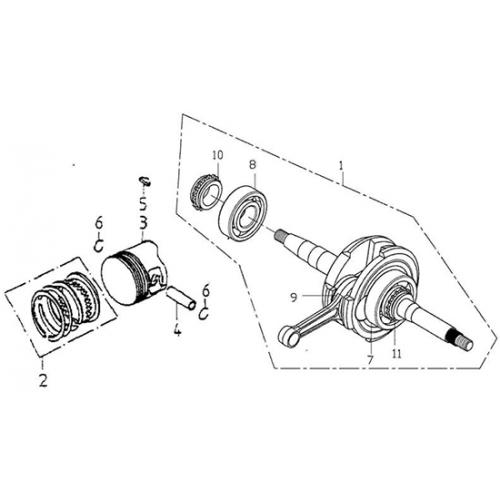 crank shaft  piston  adly atv 150s interceptor