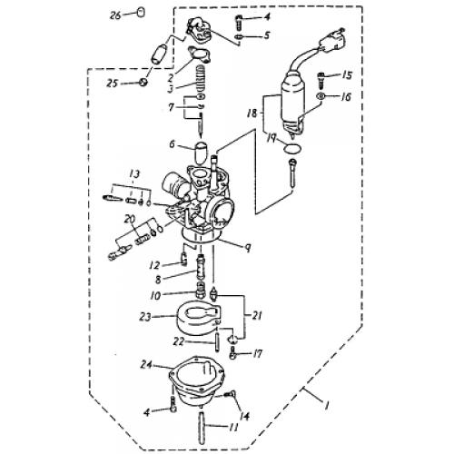 carburetor  adly atv 90cc 2t
