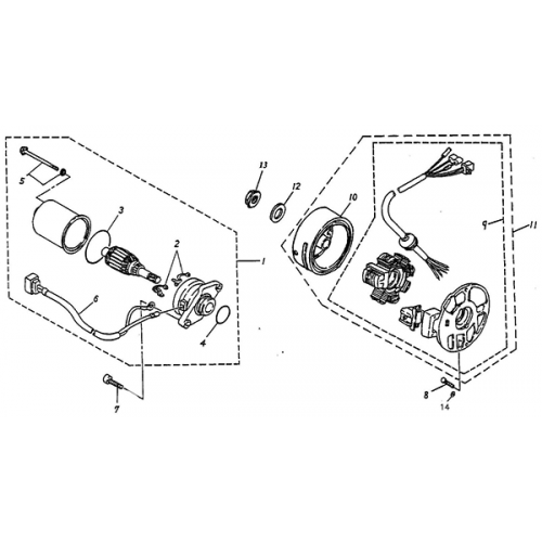 Generator, Starting Motor (Adly Jet 50)