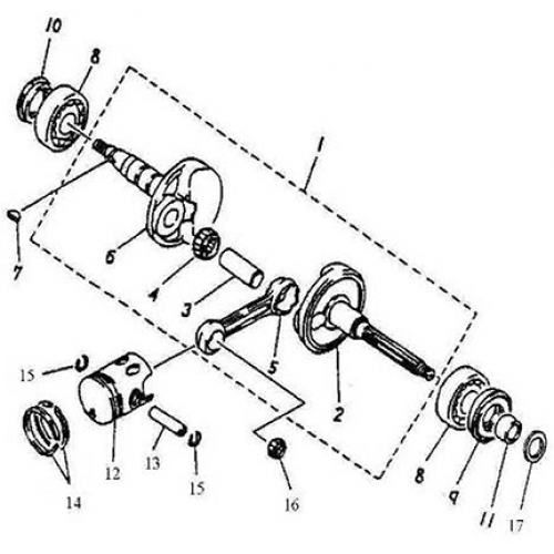 Crankshaft, Piston (Adly BullsEye 50)