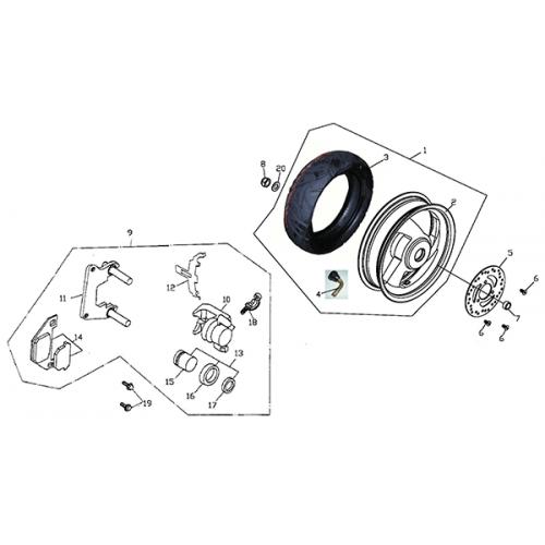 Rear Wheel - Aluminum Rim (Adly Super Sonic SS-125D)
