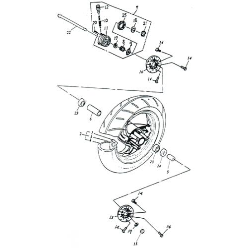 Front Wheel (Aluminium Rim) (Adly SuperSonic 50cc II)