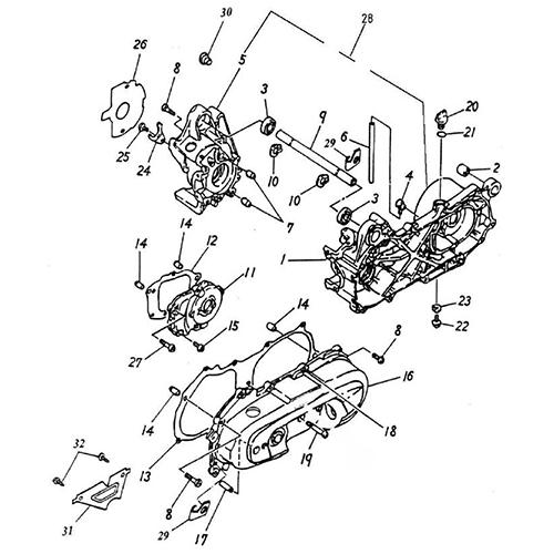 Crankcase (Adly BullsEye 50)