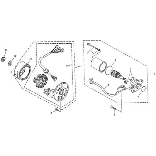 Generator, Starting Motor (Lambretta UNO50)
