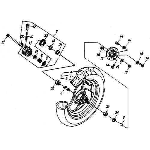 """Front Wheel (12"""" SPCC RIM) (Lambretta UNO50)"""